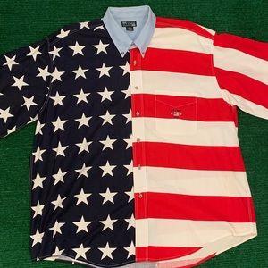 Vintage 90s American flag button shirt